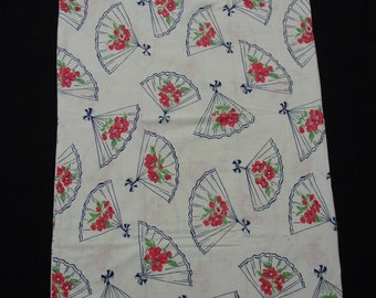 """Novelty Vintage Feedsack Fabric, Still a Sack, Fans with Flower, When Open, 40 x 35 1/2"""""""