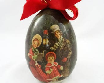 Vintage Decoupage Christmas Ornaments Old Carolers Reflections Simpich 1987 Tomorrow Today Corp