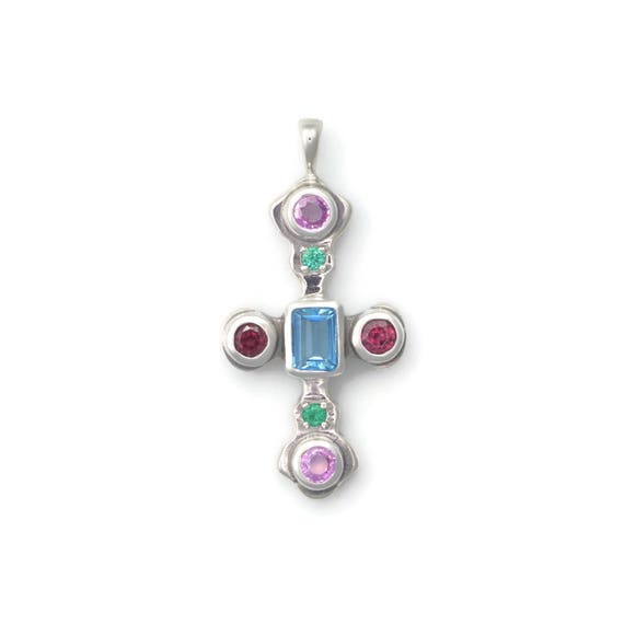 Donna Pizarro Designs Sterling And 14kt Rubellite, Emerald Cross Necklace