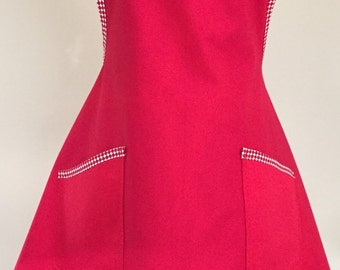 Cherry Red Retro Style Full Apron with Custom Bias Trim and Two Pockets