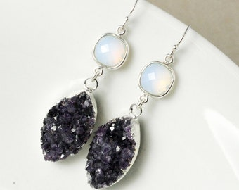 50% OFF SALE - Silver White Opalite & Violet Purple Druzy Leaf Earrings - Dangle Druzy Earrings - Geode Earrings