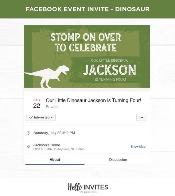 Dinosaur Birthday Facebook Event Invitation Green Brown Dirt