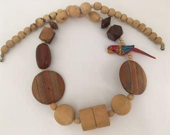 Vintage Parrot Wood Bead Necklace Pirate Prop Tiki Jewelry Hawaii
