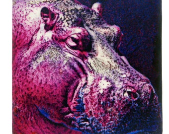 "Pink Hippo 4"" Coaster and Art Tile"
