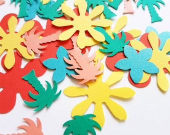 Tropical Hawaiian Flower confetti for luau, engagement party, wedding, children's party or paper craft.