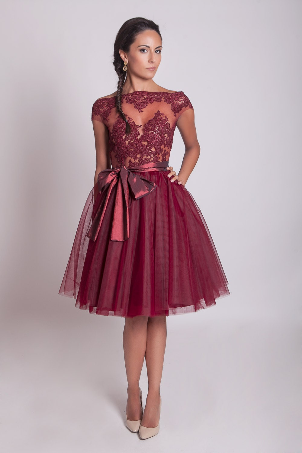 50s style lace prom dress burgundy lace dress tulle zoom ombrellifo Image collections