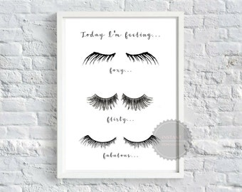Eyelash Mood Sign - Printable quote, poster, wall art, office decor, home decor, salon decor, eyelashes
