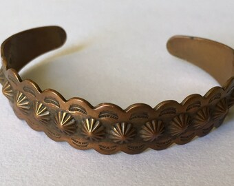 Alter Glocke Handelsposten Kupfer Sun Blüte Manschette Armband Hersteller Marke