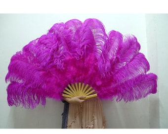 12 staves ostrich feather fan for Dancing, Raving, Carnival, festival, Show, Party ...