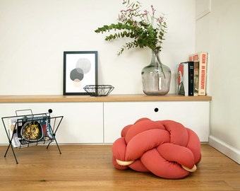 Large Knot floor Cushion in Terracotta Red, Knot Floor Pillow pouf, Modern pouf, pouf ottoman, Meditation Pillow,
