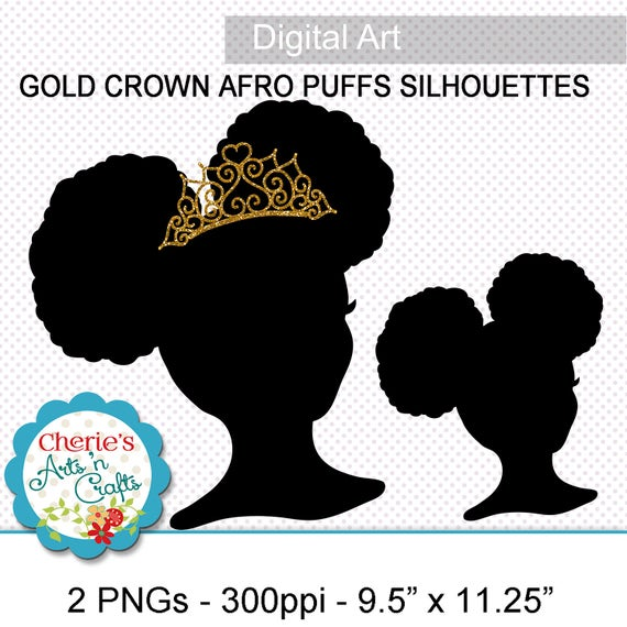 Afro Puffs Little Girl With Gold Crown Silhouette Png Images
