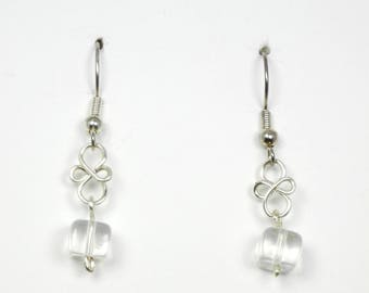 Transparent Glass Bead and Silver Wirework Earrings