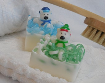 Bear Soap - Polar Bear Soap - Christmas Soap - Holiday Soap - Stocking Stuffer - Castile Soap - Kids Soap - Holiday Party Favors - Gag Gifts
