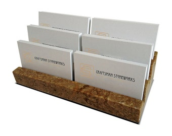 "Multiple Business Card Holder, Holds 6 different cards - Honed & Filled Travertine - 2"" Thick Slab- Stadium Design - Office Desk Home"