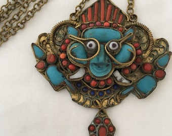 Coral Turquoise Tibetan / Nepalese Pendant Necklace Tribal Brass Face Mask