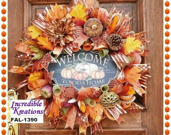 Fall Wreath; Welcome Fall Wreath; Fall Welcome Wreath; Burlap Fall Wreath; Thanksgiving Wreath; Welcome to Our Home; Decoration for Doors