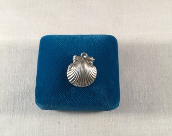 Sterling Silver shell Charm with pearl .925 #823