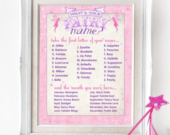Fairy Name Poster - INSTANT DOWNLOAD - Party Sign / Girls Birthday / Baby Shower / Printable Sign / Party Decor
