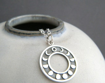 """sterling silver moon phases necklace small lunar calendar pendant full crescent gibbous waxing waning charm celestial astrology simple 3/4"""""""