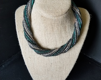 Teal, Pink, and Hematite Seed Bead Necklace