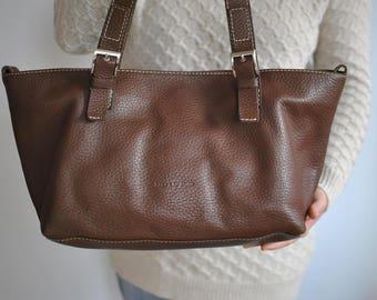 Vintage LEATHER SHOULDER BAG , leather handbag .............(066)