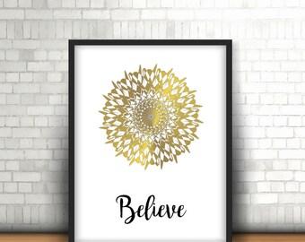 Mandala poster mandala - Believe quote poster, wall decor last minute gift-