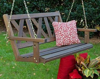 Porchgate Amish Made Haven 4ft. Red Cedar Porch Swing