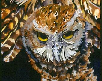 Paper Sculpture of a Screech Owl In Flight