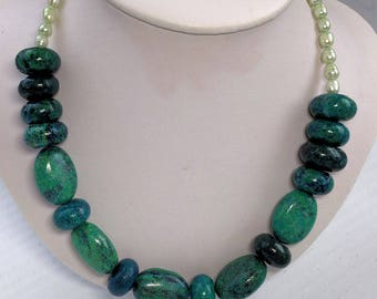 Statement Necklace, Large Chrysocolla Chunks and Rondelles, silver toggle clasp, necklace, beads, jewelry, beaded necklace, Freshwater Pearl