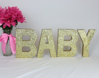 BABY Glittered Letters, 8 inch Self Standing, Baby Shower/Party Decor/Paper Mache