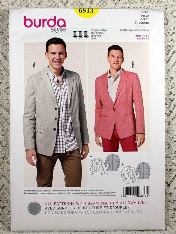 Burda 6813 Men\'s Jacket Sewing Pattern Men\'s