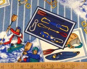 Kayaking theme cotton fabric by the yard