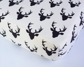 Deer Crib Bedding - Buck Changing Pad Cover / Crib Sheet Black / Elk Mini Crib Sheet / Woodland Baby Bedding / Fitted Baby Sheet by Babiease