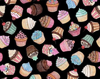 Home Sweet Home, Cupcakes on Black cotton woven fabric