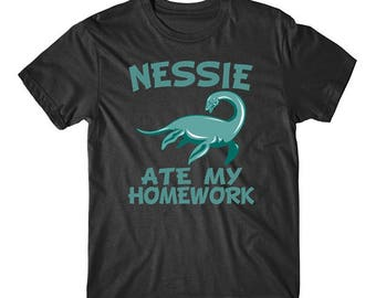 Nessie Ate My Homework Funny Loch Ness Monster T-Shirt
