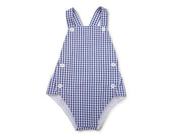Blue Gingham Romper | Classic Unisex Baby Romper | Plaid Vintage Sunsuit | Gender Neutral Baby Clothes | Grow With Me Baby Clothing