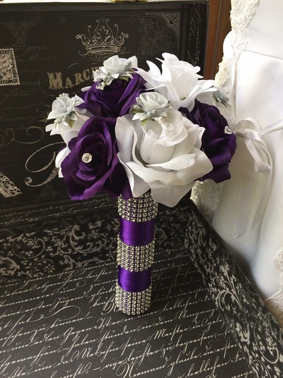 Purple White Silver Rose Wedding Bouquet Purple Bridal