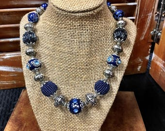 Navy Blue Statement Necklace