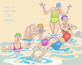 Art print - 'How to get into Cold Water' - open water swimming, wild swimming, A4 or A3 size.