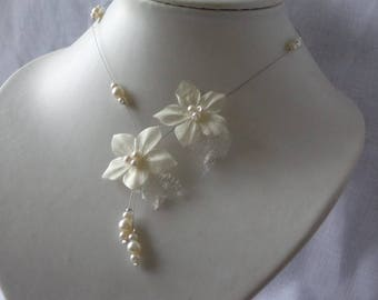 Flower silk ivory organza wedding gala ceremony necklace