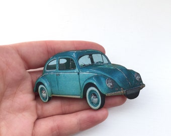American Classic Blue 1950s 1960s Car Retro Brooch Pin Up Outfit Accessory Rockabilly Wooden Brooch Birthday Gift Present Unique for Her