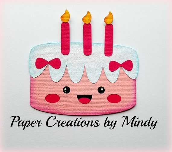 Elite4u Mindy Kawaii Birthday Cake Title Premade paper piecing for