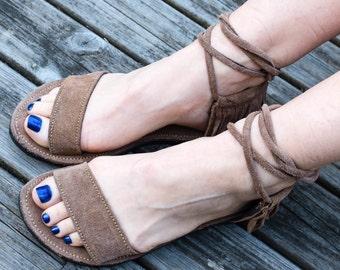 Mocha suede nomad sandals