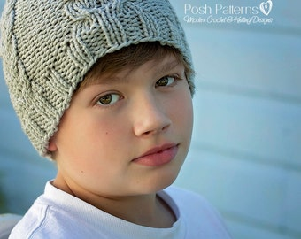 Knitting PATTERNS - Knitting Patterns for Men - Chevron Cable Knit Hat Pattern - Includes Baby, Toddler, Child, Kids, Adult Sizes - PDF 388