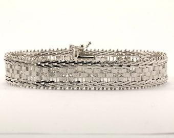 Vintage Flexible Herringbone Design Link Bracelet 925 Sterling BR 15-E
