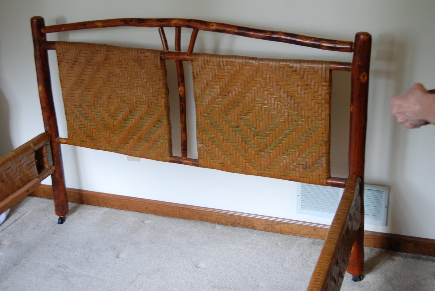 Vintage Old Hickory Wood Bed Full Bed Old Hickory Bed # Muebles Hickory