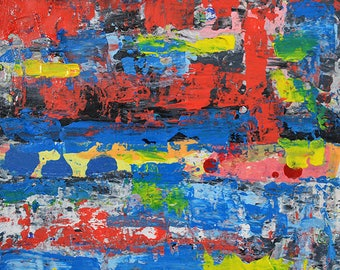 Abstract Painting Print. Red & Blue Abstract Print. Wall Art Digital Print. Gift for His Apartment or Home.