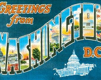 WashingtonDC, Washington DC Postcard, Washington DC souvenirs, Washington DC Vintage Art, WashingtonDC Wall Art, WashingtonDC Download
