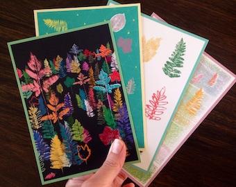 Set of 4 cards   Fantasy Forest