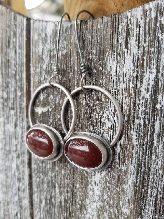 Handmade Red Carnelian Dangle Earrings, Sterling Silver Carnelian Gemstone Hoop Earrings
